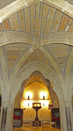 Wimborne Minster:                   Vaulted ceiling in the crypt