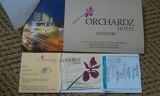 Hotel Brochure Breakfast Coupon And Keycard Picture Of Orchardz