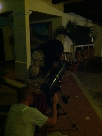 Playa Grande Park Hotel and Villas:                   Using the telescope in the courtyard for some late night star gazing