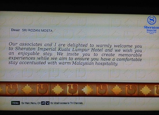 Sheraton Imperial Kuala Lumpur Hotel: Welcome note.