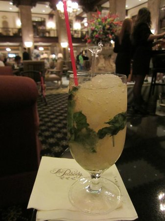 The Peabody Memphis:                   Enjoying a mint julep in the lobby bar watching the duck walk