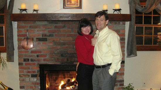 Mirabelle:                   The waiter offered to take our picture in front of the fireplace.