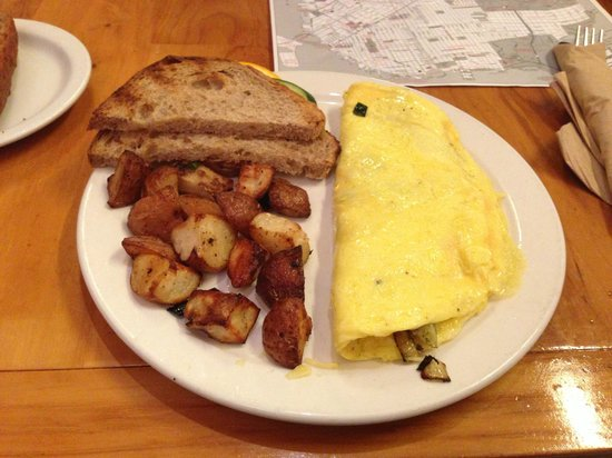 Plant Cafe Organic - Marina Cafe:                                     Chef's Special Omelete with roasted potatoes and toast.