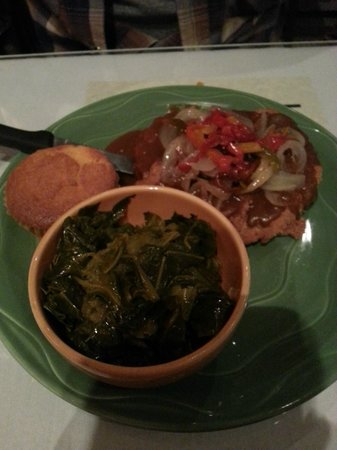 Mama J's Kitchen:                   country fried steak w/peppers and onions with collard greens