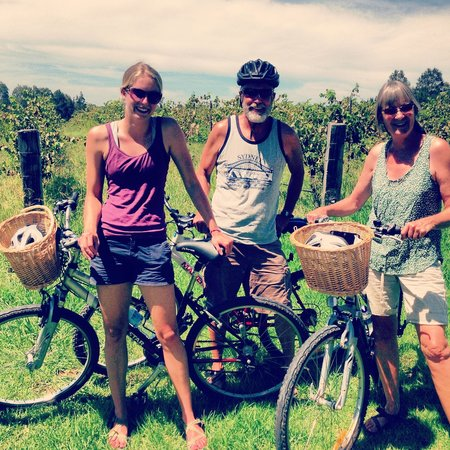 Grapemobile Bicycle Hire & Tours:                   Getting ready for our ride!