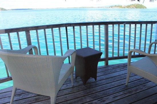 Maitai Polynesia Bora Bora:                   deck on overwater bungalow 17