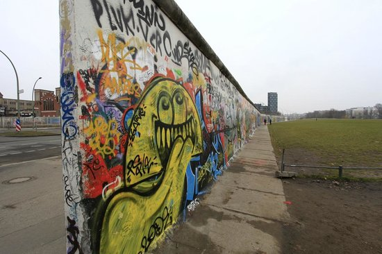 East Side Gallery:                   The mile-long stretch of the famous Berlin Wall