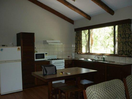 Evedon Park Bush Resort:                   Cabin kitchen area
