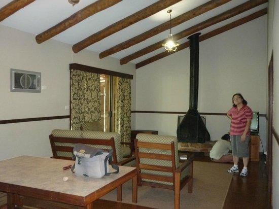 Evedon Park Bush Resort:                   Cabin lounge area