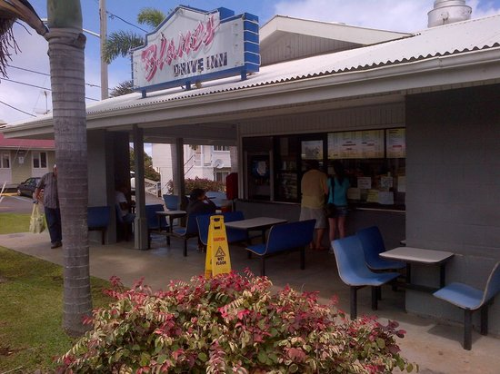 Blane's Drive Inn:                   Street view from as you drive into Honoka'a town