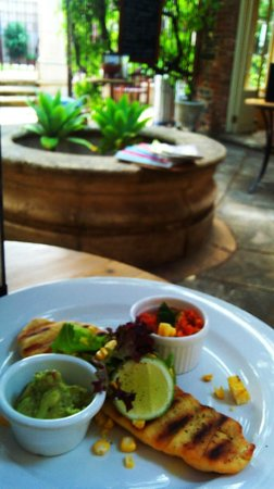 Authenticity Sanctuary Retreat and Transformational Center:                   fresh flatbreads with roast capsicum salsa , guacamole and fresh corn salad, w