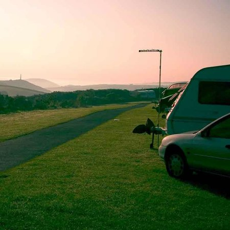 Padstow Touring Park: Caravan pitch with views