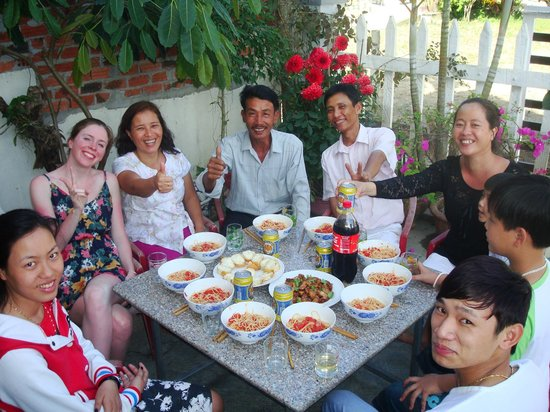 Cam Chau Homestay:                   Mike cooked. To my right is Vit's wife, then Vit, brother in-law, and the moth