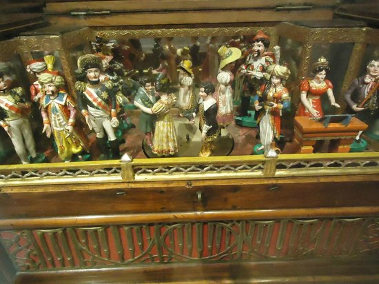 Morris Museum:                                     Ornate music box with automated figures on the top, Morris M