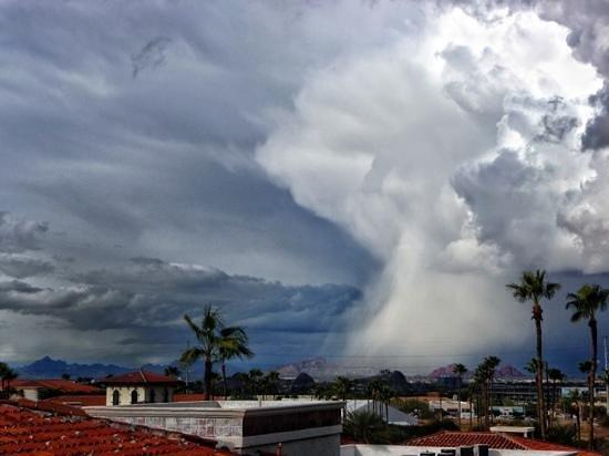 Arizona Grand Resort & Spa:                   unseasonal storm hits Scottsdale, viewed from The Grand.