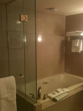 Harrah's North Kansas City:                   Bathroom with glass walled shower and tub