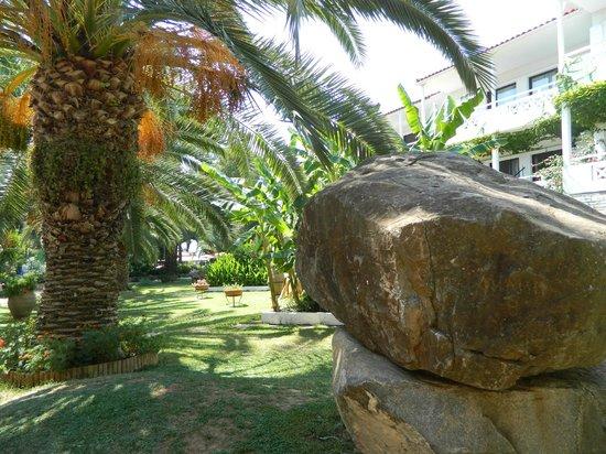 Hotel Porfi Beach:                   Внутренний двор отеля