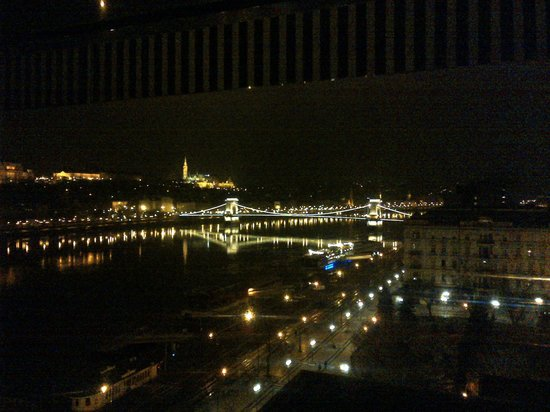 Budapest Marriott Hotel:                   At night overlooking the River Rm 702