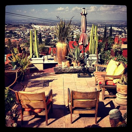 Casa Cinco Patios:                   Cacti garden patio overlooking the town