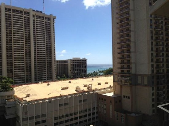 Aqua Palms Waikiki:                   Partial Ocean View through the urban canyon