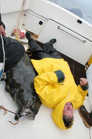Baranof Wilderness Lodge:                   Carol measures the fish