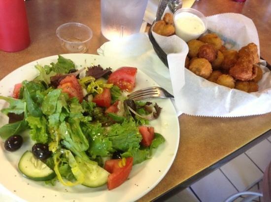 Marina Restaurant:                   tossed salad and fried mushrooms