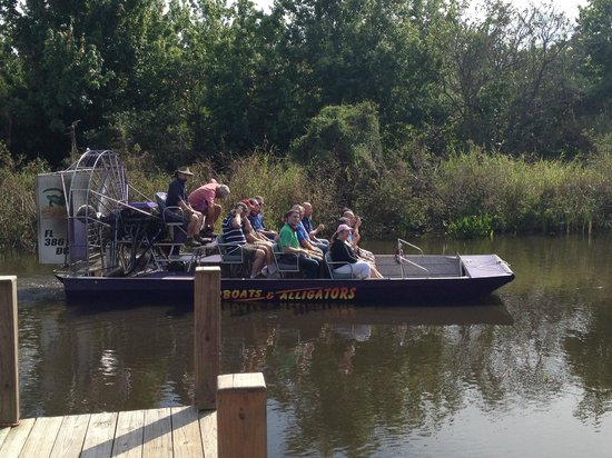 Airboats & Alligators: Another air boat leaving the dock area for their tour