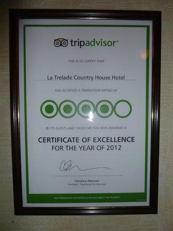 La Trelade Country House Hotel: TripAdvisor certificate