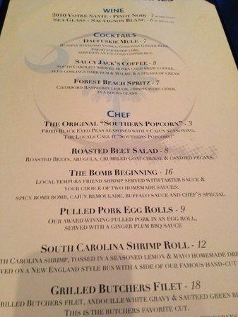 Bomboras Grille & Chill Bar : Menu (specials)