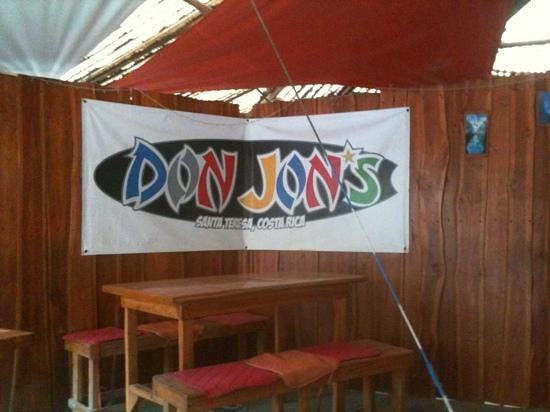 Don Jon's Lodge and Restaurante:                   the banner at the restaurant area