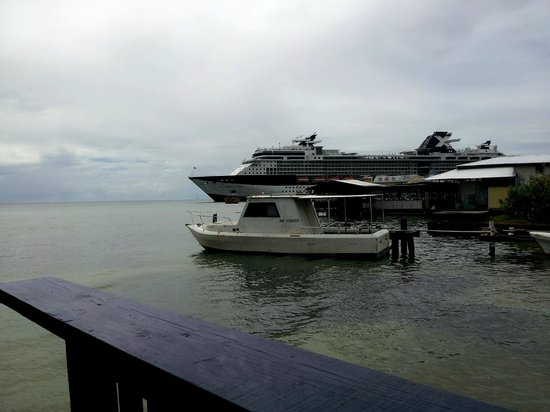 Two Dove Bar & Restaurant:                   Scenic View of the Coxen Hole Bay.