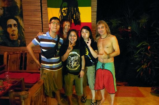 Reggae Guesthouse:                   with bilbo and cha (is it? hehe) the cool owners