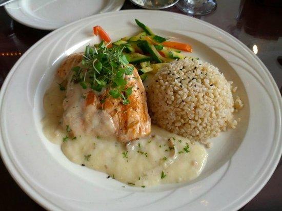 Seaside Restaurant:                   Grilled Salmon with Hamakua Mushroom Cream Sauce