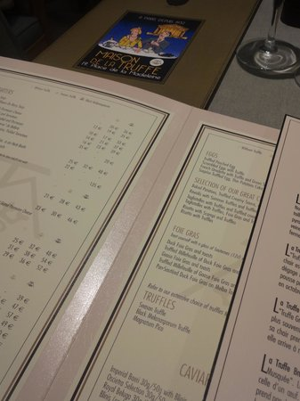 Maison de la Truffe:                   The Menu