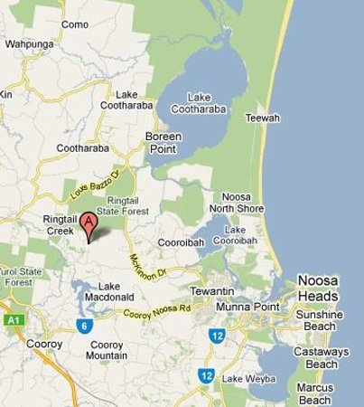 Alaya Verde : Google map of our position to Noosa