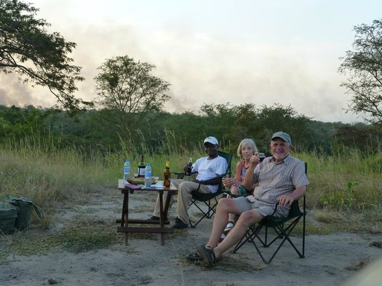 Semliki Safari Lodge:                   Sundowners with Simon - our guide