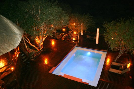 Naledi Bushcamp and Enkoveni Camp: The pool deck at Bushcamp by night