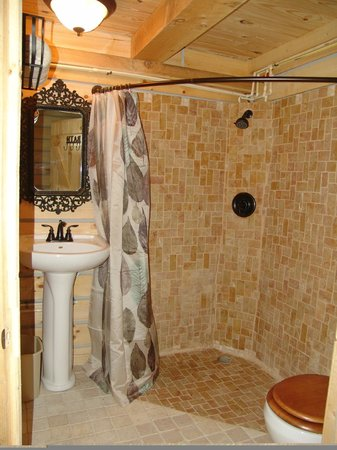 Timber Ridge Outpost & Cabins: Hickory Hollow log cabin bathroom