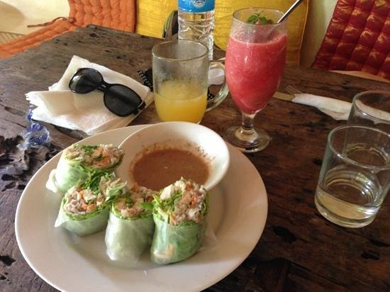 Yellow Flower Cafe:                   rice paper rolls