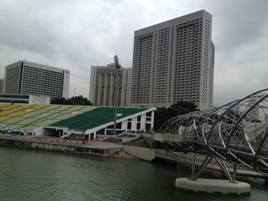 The Ritz-Carlton, Millenia Singapore:                   The hotel from the Helix bridge on the Bay