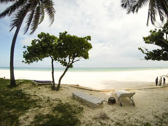 Galu Sea Lodge -Tamani:                                     view from the lodge to the beach