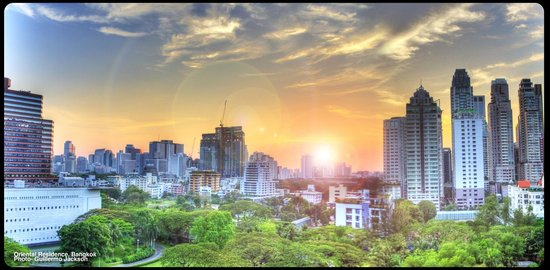 Oriental Residence Bangkok:                   Sunset from our room