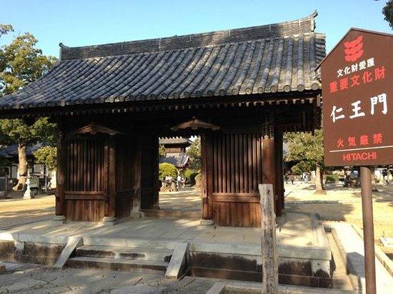 Motoyamaji temple :                   重要文化財看板と仁王門