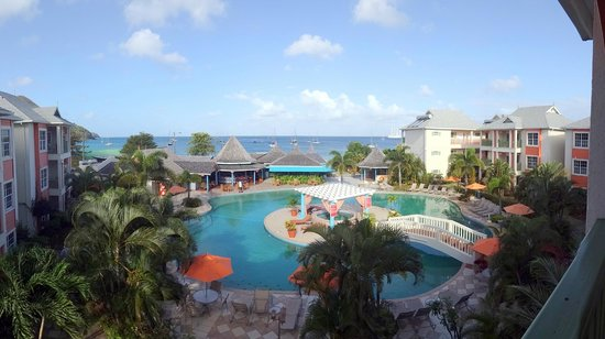 Bay Gardens Beach Resort:                   Pool with the Caribbean beyond