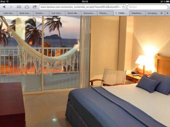 Hotel Tamaca Beach Resort: Balkon auf der Website - Photoshop lässt grüssen!