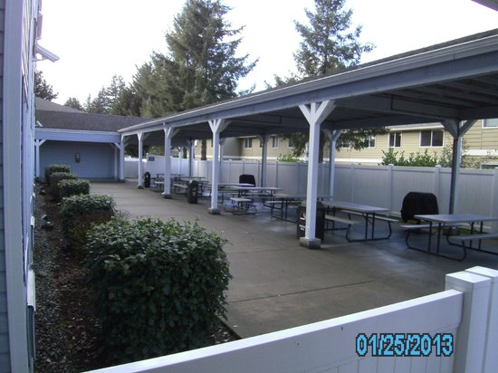 Stay Beyond Inn & Suites: Covered patio and picnic area with gas grills