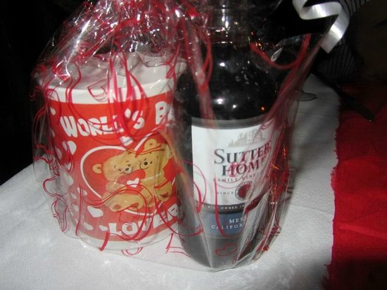 Bamboo Restaurant:                   Mug with chocolates and small bottle of wine
