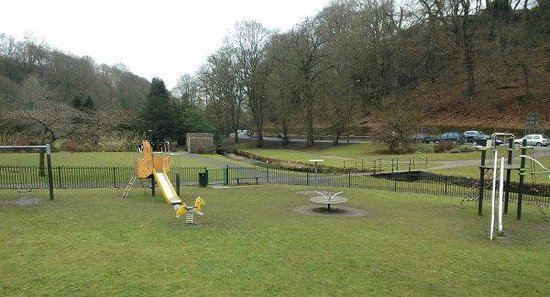 The Wye Bridge House:                   Play area and stream next door to the Wye Bridge.
