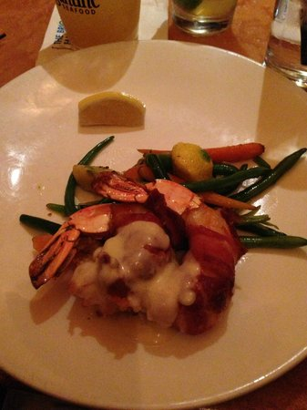 Brigantine Seafood Restaurant :                   Bacon wrapped stuffed prawns with queso sauce...so yummy!