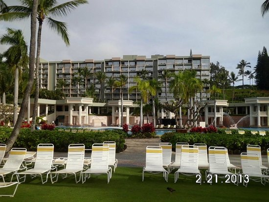 Kauai Marriott Resort:                   standing on beach looking back at hotel